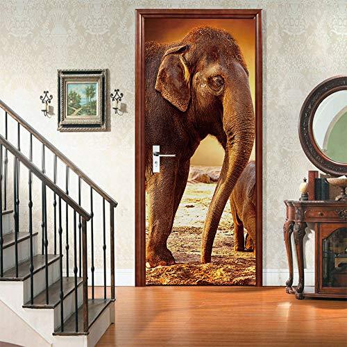 Yelilad Türtapete Selbstklebend TürPoster Türaufkleber 3D Wohnzimmer Schlafzimmer Badezimmer Wasserdicht Abnehmbare Professionelle Vinyl Upgrade, Tier Afrika Wild Elephant 90x200 cm