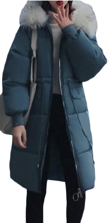 Gocgt Women Hooded Winter Long Coats Faux Fur Down Parka Outdoor Jackets