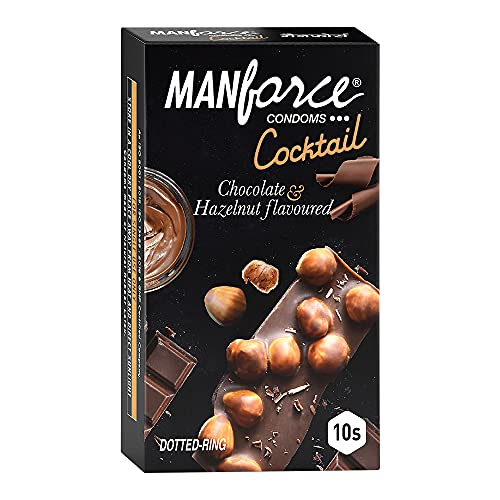 Manforce Cocktail Condoms with Dotted-Rings, Hazelnut & Chocolate Flavoured- 10 Pieces