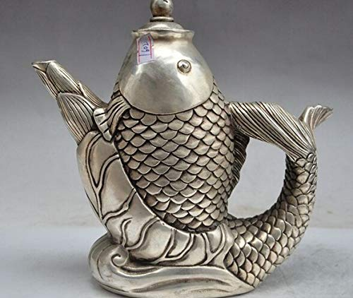 LWSJP Tetera Hecha a Mano Silver 8'Mark China China Fengshui Silver Fish Statue Wine Tea Pot Flagon for la decoración del hogar