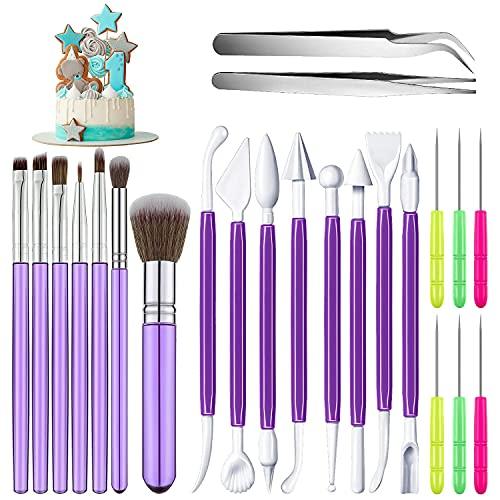 MEISO 23 Stücke Kuchen Dekorieren Werkzeug Set, Modellierwerkzeug, Keksdekoration-Pinsel, Keksspitznadeln, Zucker-Rührnadeln, Ellenbogen und gerade Pinzette, für Kuchen Dekoration(lila)