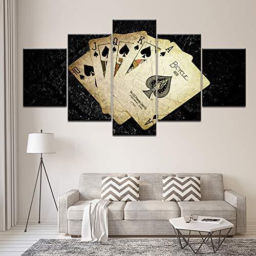 jasonding Wandbild 5 Panel Karten Poker Spiel Bilder Wandbilder Auf Leinwand Moderne Pop Art Poster Und Drucke Für Raumdekoration Kunstwerke-(Rahmen)-100cm