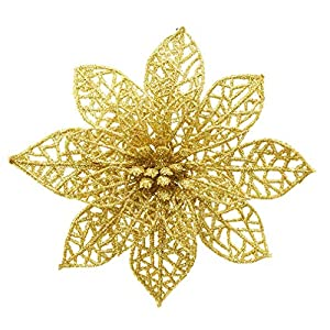 Turelfies 12 Pcs 5.9''(15cm) Christmas Tree Flowers with 12 Pcs Green Soft Stings Glitter Poinsettia Artificial Flowers Decorative Wreath Tree Ornaments(Gold)