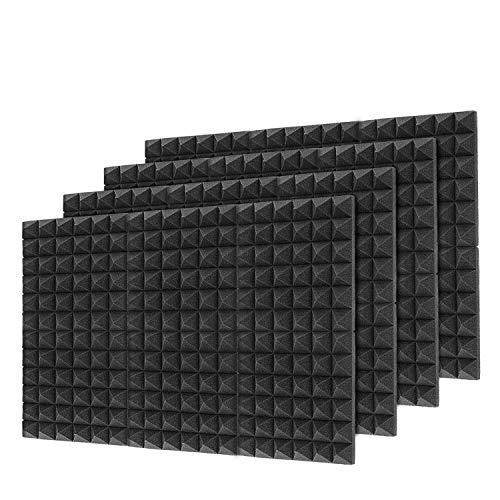 Little-Lucky Acoustic Foam Panels,SoundProof Padding Foam Panels,2' X 12' X 12' Studio Foam Pyramid Tiles Sound Absorbing Dampening Foam Treatment Wall Panels -48Pack (48Pack, Black)