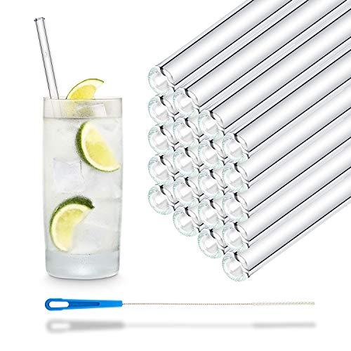 Pajitas de cristal reutilizables, 50 unidades, rectas, 20 cm, para gastronomía, restaurante, bar, cafetería, hotel, apto para lavavajillas, pajitas de cristal para bebidas largas, batidos