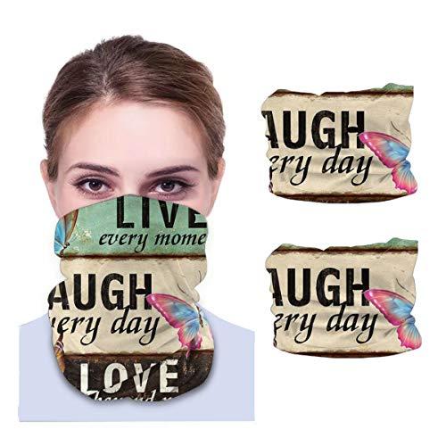 Máscara facial Bandana para cubierta de polvo Live Laugh Love Butterfly Vintage Diadema cuello polaina 2 piezas