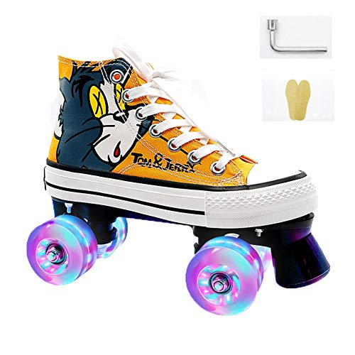 WXYXG Disco Rollerskates,mit Leuchtenden Quad Skates Bequem und atmungsaktiv,für Mädchen und Damen und Jungen, Farbe: schwarz/gelb, Größe:35-44