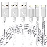 iPhone 充電ケーブル【MFi認証】2M 3本セット 急速 ライトニングケーブル lightningケーブル 高耐久編組ナイロン アイフォン 充電ケーブル データ転送 柔軟性 iPhone 12/11/XS/XS Max/XR/X/8/8Plus/7/7 Plus/6s/6s Plus/5s/5/iPad 各種対応(シルバーグレー)