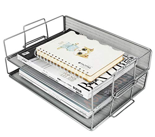 ESYLIFE Stapelbare Aktenablage, 2 Stück, A4, Dokumente, Papier, Briefablagen, Schreibtisch-Ordner, Organizer, silber