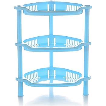 Delleu Scaffale di stoccaggio di plastica degli scaffali delle mensole della Cucina del Bagno dellArmadio dellArmadio dellArmadio di plastica