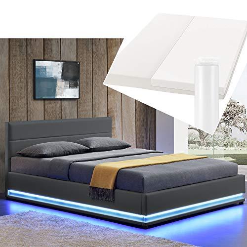 ArtLife LED Polsterbett Toulouse 180 × 200 cm mit Matratze, Lattenrost & Bettkasten - Kunstleder Bezug & Holz Gestell – grau – Bett Doppelbett