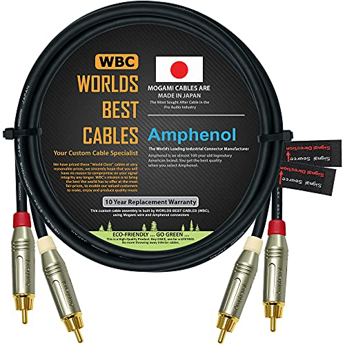 2 Foot – Directional Quad High-Definition Audio Interconnect Cable Pair Custom Made by WORLDS BEST CABLES – Using Mogami 2534 Wire and Amphenol ACPR Die-Cast, Gold Plated RCA Connectors