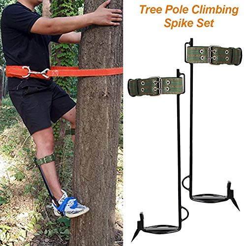 TIVOGZ Tree Climbing Spike Set with Safety Belt Strong Load-Bearing Capacity Tree Climbing Gaff Spikes Set