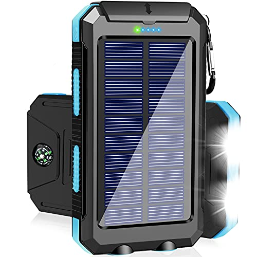 Solar Charger 20000mAh Portable Solar Power Bank Waterproof Camping Solar Phone Charger External Battery Packs with Dual USB Output 2 Led Flashlight for Smartphones and More