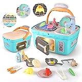 BeebeeRun Küchenspielzeug Kinder, Kinderküche Zubehör mit Spielküche Kochgeschirr, Lebensmittel Spielzeug, Kinder Rollenspiel Spielzeug, Lernspielzeug Geschenk für Mädchen und Jungen ab 3 Jahre
