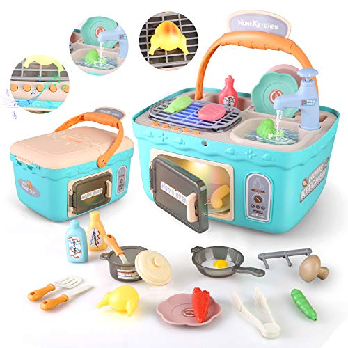 Kids Play Kitchen Picnic PlaysetPortable Picnic Basket Toys with Musics amp LightsColor Changing Play FoodKitchen Sink Toys and Pretend Play OvenKitchen Toy Sets Gift for Kids Boys Girls Blue