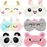 6 Pack Cute Animal Unicorn Sleep Mask for Girls Soft Plush Blindfold Cute Unicorn Rabbit Panda Alpaca Mouse Sleeping Masks Eye Cover Eyeshade for Kids Teens Girls Women Plane Travel Nap Night Sleeping
