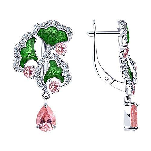 Mirkada - Pendientes de plata para mujer, con circonitas y esmalte, color rosa y verde