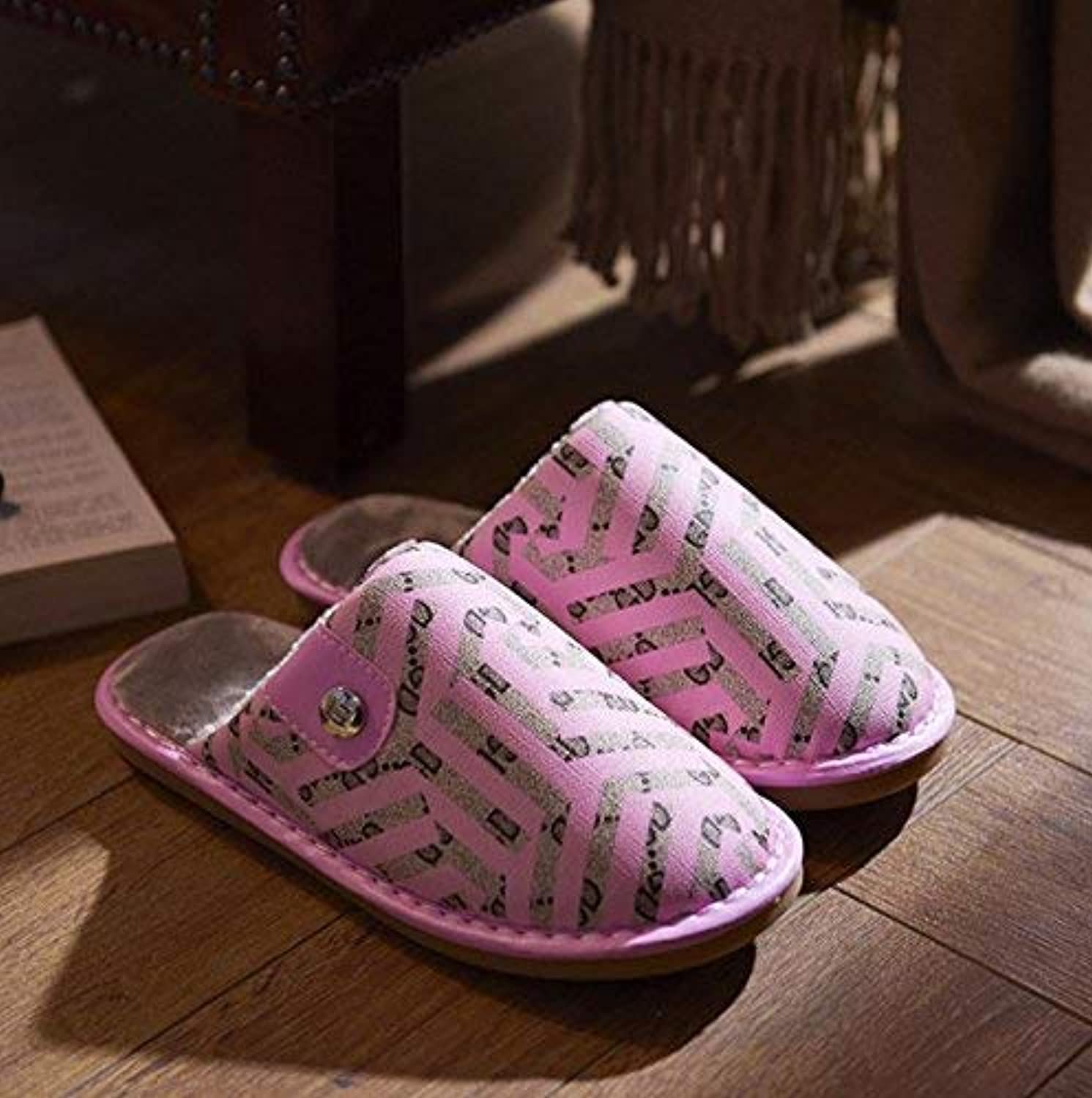 So8ooa Lady Slippers Ladies Thermal Slipper Casual Faux-Leather Geometric Printing Pattern Keep Warm in Winter and Autumn Female Comfortable Slippers