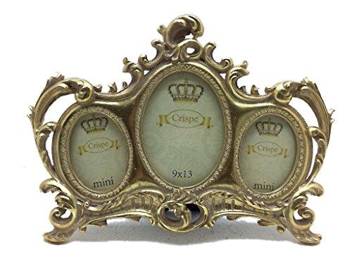 Crispe Bilderrahmen Venezia im Antik-Look in Antikgold Größe 30 x 22 cm - mit 3 Bildmaßen 6 x 8 + 9 x 13 + 6 x 8 cm Rahmen Bild Foto Barock