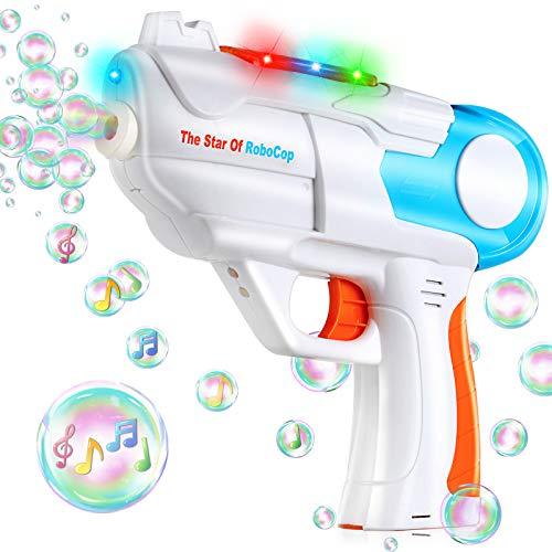 TangTag Seifenblasenpistole, Automatischer Seifenblasenmaschine Kinder Spielzeug mit Musik und Licht, für Party, Geburtstagsfeier, Draussen, Hochzeit - Nicht Inklusive Seifenblasen und Batterie