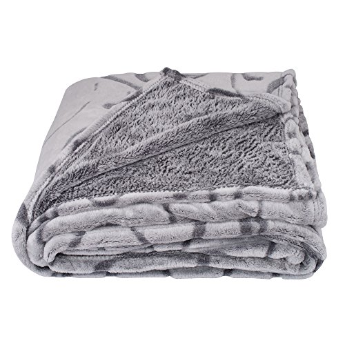 SOCHOW Uragiri Flannel Fleece Throw Blanket Warm Lightweight Super Soft Blanket 50 × 60 Inches Grey