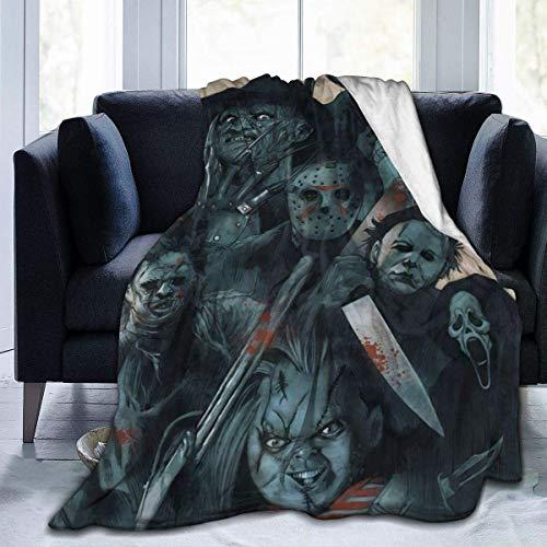 Maichengxuan - Manta hipoalergénica, cálida y mullida, de felpa y terror misterioso, películas de miedo, Halloween para cama, sofá, silla, otoño, invierno, sala de estar, grande, 200 x 60 cm