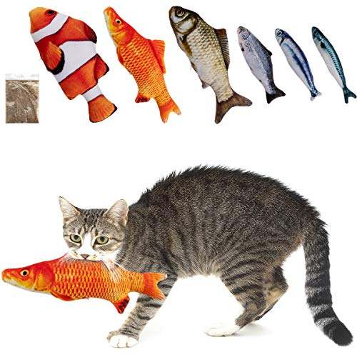MEWTOGO 6 Pcs Catnip Fish Cat Toys with Zippers, Upgraded Realistic Fluffy Fish...
