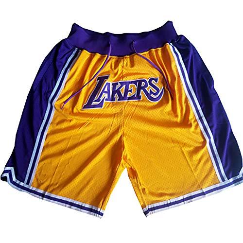 FYDT Shorts de Baloncesto Bull Lakers Retro para Hombres, Uniforme de Entrenamiento de Bordado Transpirable de edición Conmemorativa, Regalo para fanáticos-LakersPurple-S