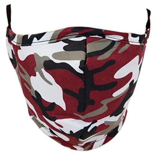 Leoodo Atemschutz Maske mit 2 Filter Motiv Wiederverwendbar Atmungsaktiv Mund und Nasenschutz Waschbare Staubschutz Mundschutz Premium, Mundschutz farbe:Camouflage Rot