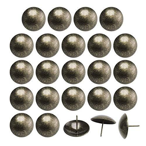 24 piezas de muebles para decoración de uñas, 30 mm de diámetro, cabeza redonda, de metal, estilo vintage, para sofá, cabecero de cama, artesanía, decoración de bronce tono.