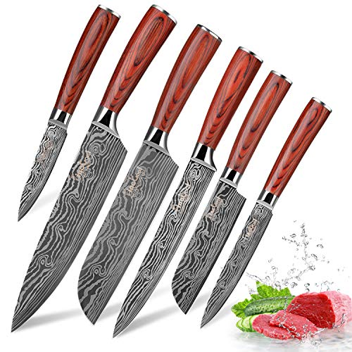 Kitchen Knife Sets, FineTool Professional Chef Knives Set Japanese 7Cr17mov High Carbon Stainless Steel Vegetable Meat Cooking Knife Accessories with Red Solid Wood Handle, 6 Pieces Set Boxed Knife