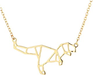 WLLAY Geometric Origami T-Rex Dinosaur Pendant Necklace Animal Jewelry for Women Gifts
