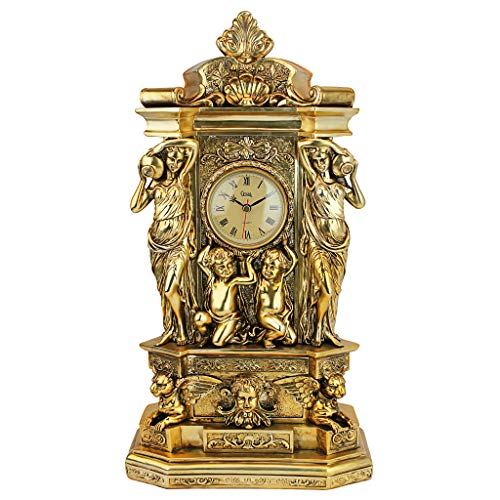 Design Toscano Chateau Chambord Klassische Kaminsimsuhr, Polyresin, gold-finish, 51 cm