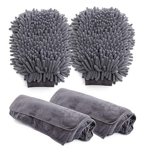 Toalla Secado Coche Set , Mitón para Lavado de Coches, Bayeta de Limpieza de Microfibra para Cuidado Limpieza Coche Microfibra Paños Toallas versátiles