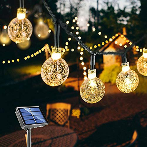 Upgraded Solar String Lights Outdoor Waterproof 60LED Fairy Lights 8 Modes Starry Lights Solar Powered String Light for Garden Yard Home Party Wedding Christmas Decoration (Warm White)