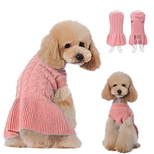 Didog Fashion Sweety Pretty Classic Knitting Dog Sweater Dress with Two Leg Design for Small Medium Large Dog, Pink, M Size