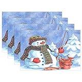 Navidad Fisherman Snowman Manteles individuales Árbol de Navidad Snow Table Mats Antideslizantes, lavables, resistentes al calor, individuales para cocina, comedor, decoración, bandeja, tapete, 12 'x