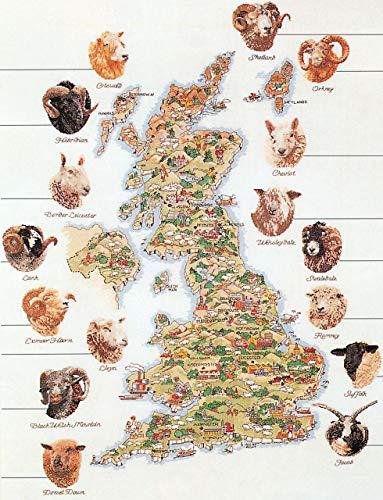 Thea Gouverneur - Kit de Punto de Cruz Contado - 1076 - Hilos DMC Preseleccionados - Mapa de ovejas de Gran Bretaña - Lino - 65cm x 85cm - Kit de Bricolaje