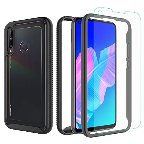 iRunzo 2 in 1 Hybrid Rugged Armor Cases for Huawei P40 Lite E Cover Soft TPU + PC Bumper Huawei Y7p 360° Full Body Protect Shockproof + Tempered Glass Screen Protector (Black)