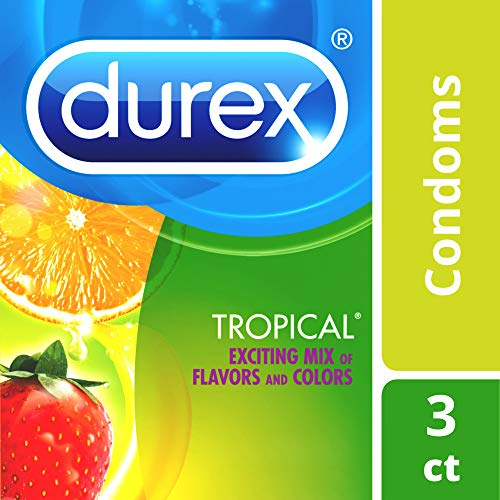 Condoms, Lubricated Latex, Durex Tropical Flavors Condom, 3 ct Mix of Tropical Orange, Banana and Strawberry Fruit Flavors