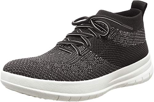 FitFlop High Sneaker, Uberknit Slip-on Hi Top Zapatillas para Mujer, Multicolor Negro Bronce Metálico 501, 39 EU