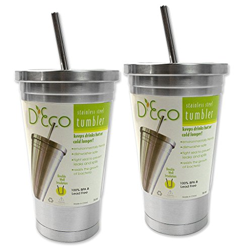 Stainless Steel Tumbler with Straw- 2 pack 16 oz Hot Cold Double Wall Insulated Drinking Mug