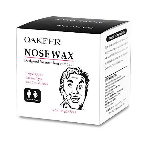 Oakeer Nose Wax Kit,Nose Wax Hair Remover for Men Women 100g Nose Wax 20 Nose Wax Applicator Sticks