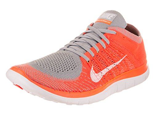 Nike New Free Flyknit 4.0-631053 - Running Sneakers (9.5, Wolf Grey/White-Total Orange-Volt)