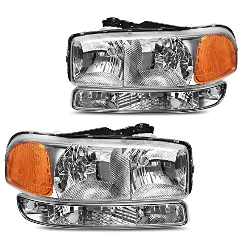 DWVO Headlight Assembly Compatible with 1999 2000 2001 2002 2003 2004 2005 2006 2007 GMC Sierra 1500 2500 3500/00-06 GMC Yukon Headlamp