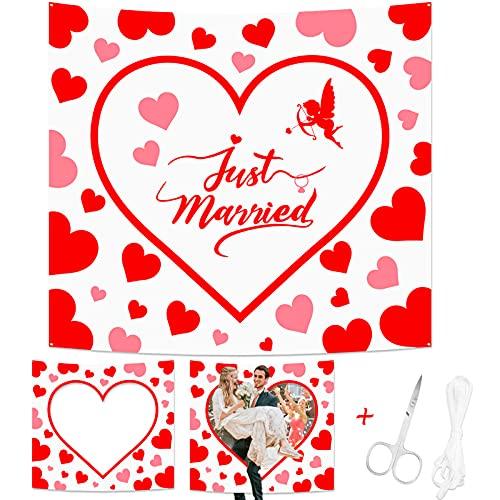 HOWAF Hochzeitsherz zum Ausschneiden für Brautpaar, Herzmotiv Just Married Hochzeitslaken zum Durchschreiten für Hochzeitsspiele Hochzeit Fotobox Requisiten, Herzlaken 180x200cm mit Scheren Schnur