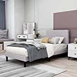 Upholstered Platform Bed Frame Twin Size with Headboard, Mattress Foundation/Wood Slat Support/No Box Spring Needed/Easy Assembly,Light Grey