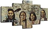 QQWW 5 Piezas Cuadro sobre Lienzo- Nativo Americano Impresión Artística Imagen Gráfica-5 Piezas-Impresión en Lienzo Listo para Colgar-en un Marco,Moderna decoración del hogar