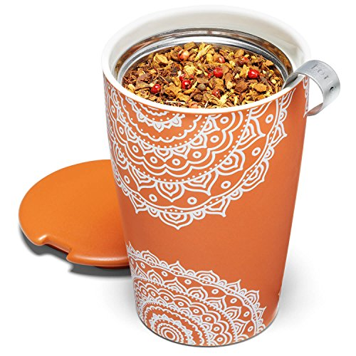Tea Forte Kati Cup Chakra, Ceramic Tea Infuser Cup with Infuser Basket and Lid for Steeping Loose Leaf Tea